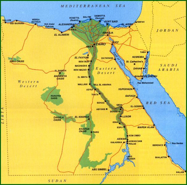 Mapa Egiptu Egipt Mapa Geografia